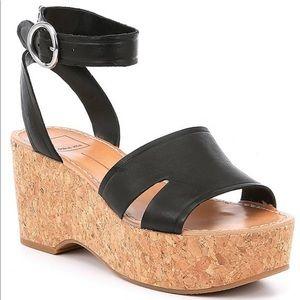 Dolce Vita Cork Wedge Sandal In Black